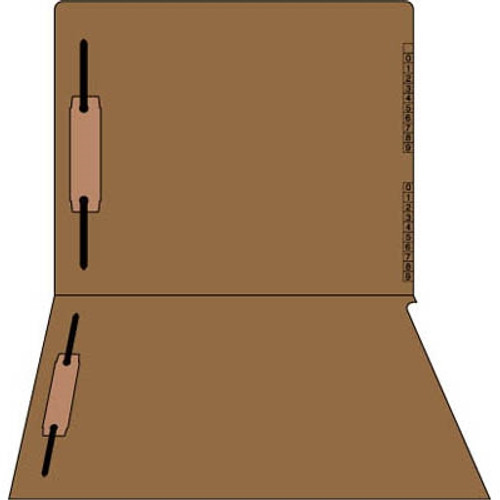 "End/Top Tab Numeric Kardex Folders - BROWN - Letter Size - 3/4"" Expansion - With Fasteners in Positions 1 & 3 - 100/Box"