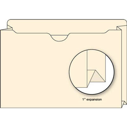 "Pocket Folder with 1-1/2"" Expansion - Double Ply Top Tab - 11 Pt. Manila - 9-1/2"" H x 11-3/4"" W - 50/Box"