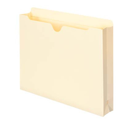 "File Jacket with 2"" Expansion (ships flat) - 11 Pt. Manila  - Single Ply Tab - Letter Size - Closed on 3 sides - Notched at top - 200/Carton"