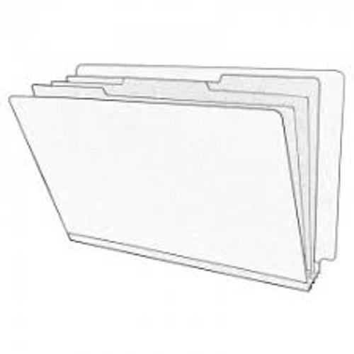 "End Tab Pressboard Folders w/ 3 Kraft Dividers - BLUE - Letter Size -  Tyvek 3"" Expansion in Grey - 10/Box"