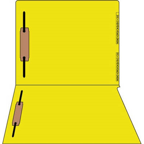 """End/Top Tab Numeric Kardex Folders - Yellow - Letter Size - 3/4"""" Expansion - With Fastener in Positions 1 & 3 - 50/Box"""