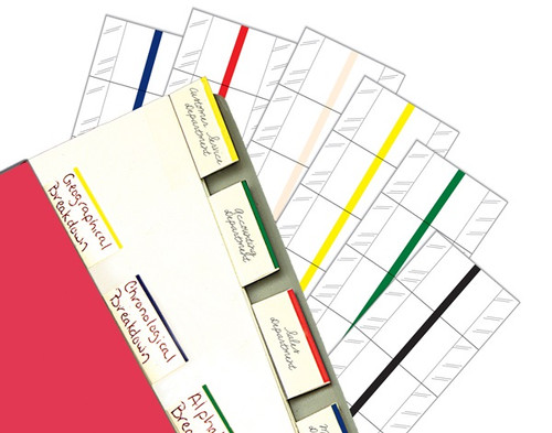 "Erasable Write-On Index Tabs - 1""W with 1/2"" Tab Extension - Yellow Colored Edge - 240/Box"