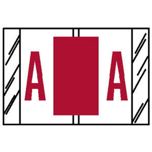 "TAB Compatible 84100 Series Alpha Labels - 'A' - Red - 1"" H x 1-1/2"" W - Labels on Sheets - 100 Labels Per Pack (10 Labels Per Strip)"
