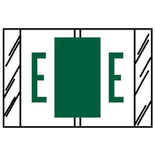 "TAB Compatible 84100 Series Alpha Labels - 'E' - Green - 1"" H x 1-1/2"" W - Labels on Sheets - 100 Labels Per Pack (10 Labels Per Strip)"