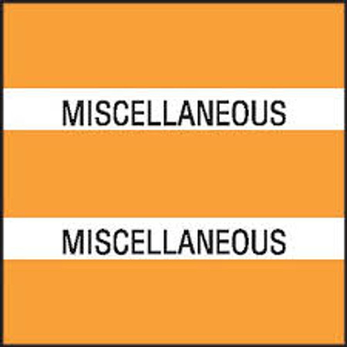 "Chart Divider Tabs ""Miscellaneous"" - Orange - 1 1/2"" X 1 1/2"" - Pack of 102"