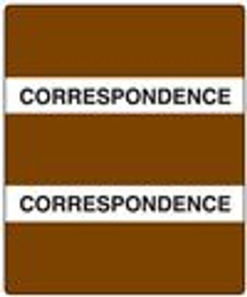 "Create Your Own Patient Chart Divider Tab- ""Correspondence"" - Brown - 1-1/2"" x 1-1/2"" - 102/Pack"