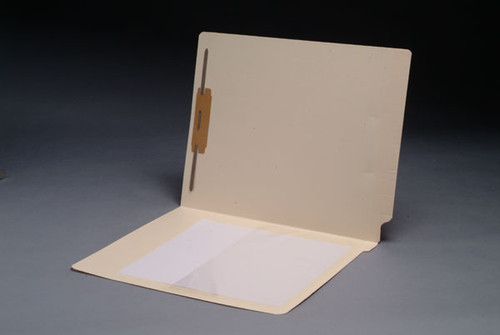 End Tab Folder with 1/2 Poly Pocket inside Left - Fastener in Position 1 - 11 Pt. Manila - Full Cut End Tab - Letter Size - 50/Box