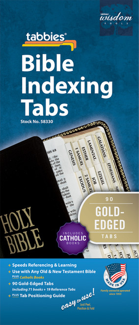 Tabbies 10 Packs of  Classic Bible Indexing Tabs  - Old & New Testament plus Catholic books, 90 gold-edged tabs  including 71 books & 19 reference tabs