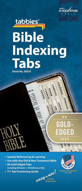 Tabbies 10 Packs of  Classic Bible Indexing Tabs  - Old & New Testament, 80 gold-edged tabs including 64 books  & 16 reference tabs