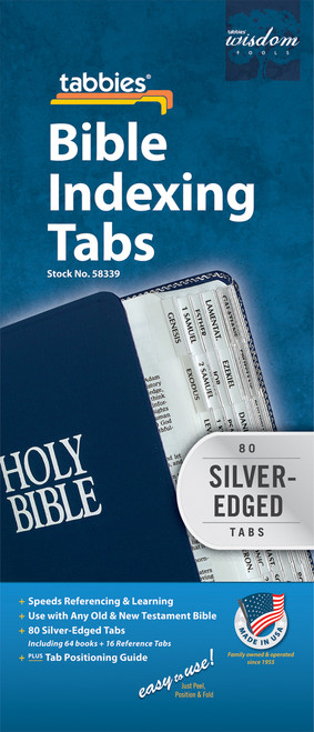Tabbies 10 Packs of  Classic Bible Indexing Tabs  - Old & New Testament, 80 silver-edged tabs including 64 books  & 16 reference tabs