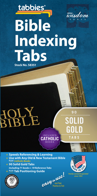 Tabbies 10 Packs of  Classic Bible Indexing Tabs  - Old & New Testament plus Catholic books, 90 solid gold tabs  including 71 books & 19 reference tabs