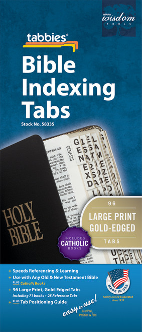 Tabbies 10 Packs of  Large Pint Bible Indexing Tabs  - Old & New Testament plus Catholic books, 96 gold-edged tabs  including 71 books & 25 reference tabs