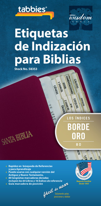 Tabbies 10 Packs of  Spanish Bible Indexing Tabs  - Spanish Old & New Testament, 80 gold-edged tabs including  64 books & 16 reference tabs