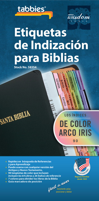 Tabbies 10 Packs of  Spanish Bible Indexing Tabs  - Spanish Rainbow Old & New Testament, 90 assorted tabs  including 62 books & 26 reference tabs