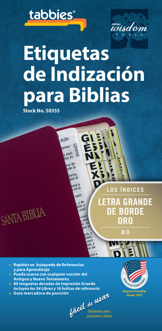 Tabbies 10 Packs of  Spanish Bible Indexing Tabs  - Spanish large print - Old & New Testament, 80 gold-edged tabs  including 64 books & 20 reference books