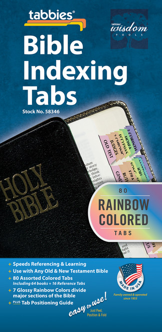 Tabbies 10 Packs of  Rainbow Bible Indexing Tabs  - Old & New Testament, 80 assorted tabs including 64 books  & 16 reference tabs