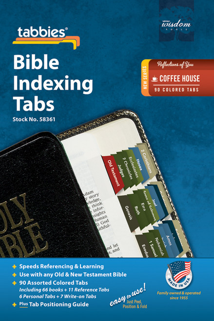 Tabbies 10 Packs of  Reflections of You Bible Indexing Tabs  - coffee house - Old & New Testament, 90 assorted tabs including  66 books & 11 reference tabs, 6 personal tabs & 7 write-on tabs