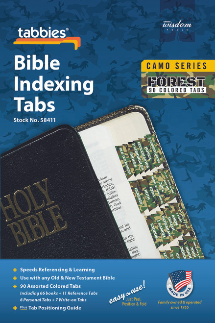 Tabbies 10 Packs of  Camo Series Bible Indexing Tabs  - forest camo - Old & New Testament, 90 assorted tabs including  66 books & 11 reference tabs, 6 personal tabs & 7 write-on tabs