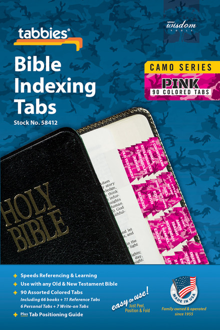 Tabbies 10 Packs of  Camo Series Bible Indexing Tabs  - pink camo - Old & New Testament, 90 assorted tabs including  66 books & 11 reference tabs, 6 personal tabs & 7 write-on tabs