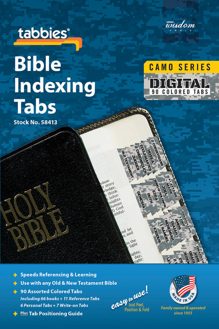 Tabbies 10 Packs of  Camo Series Bible Indexing Tabs  - digital camo - Old & New Testament, 90 assorted tabs including  66 books & 11 reference tabs, 6 personal tabs & 7 write-on tabs