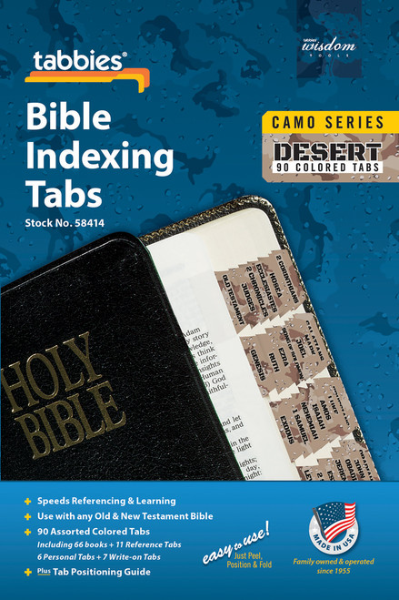 Tabbies 10 Packs of  Camo Series Bible Indexing Tabs  - desert camo - Old & New Testament, 90 assorted tabs including  66 books & 11 reference tabs, 6 personal tabs & 7 write-on tabs