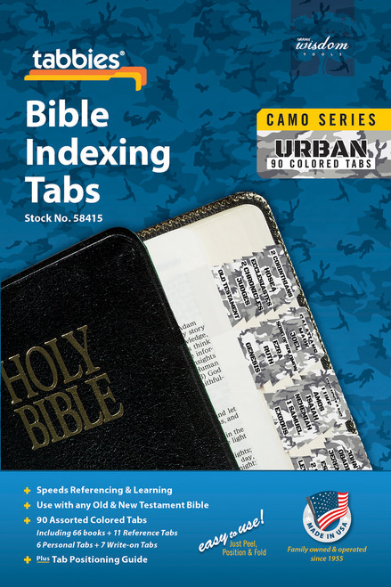 Tabbies 10 Packs of  Camo Series Bible Indexing Tabs  - urban camo - Old & New Testament, 90 assorted tabs including  66 books & 11 reference tabs, 6 personal tabs & 7 write-on tabs