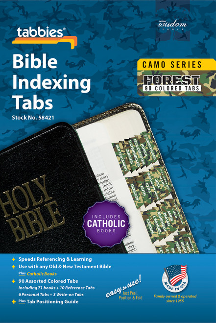 Tabbies 10 Packs of  Camo Series Bible Indexing Tabs  - forest camo - Old & New Testament plus Catholic books,  90 assorted tabs including 73 books & 10 reference tabs,  6 personal tabs & 3 write-on tabs