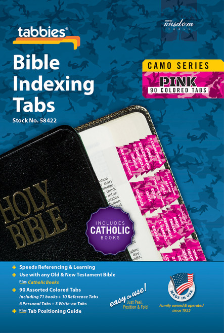 Tabbies 10 Packs of  Camo Series Bible Indexing Tabs  - pink camo - Old & New Testament plus Catholic books,  90 assorted tabs including 73 books & 10 reference tabs,  6 personal tabs & 3 write-on tabs