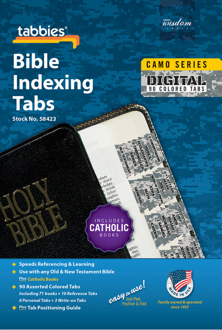 Tabbies 10 Packs of  Camo Series Bible Indexing Tabs  - digital camo - Old & New Testament plus Catholic books,  90 assorted tabs including 73 books & 10 reference tabs,  6 personal tabs & 3 write-on tabs