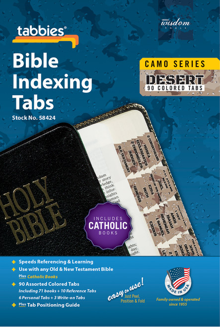 Tabbies 10 Packs of  Camo Series Bible Indexing Tabs  - desert camo - Old & New Testament plus Catholic books,  90 assorted tabs including 73 books & 10 reference tabs,  6 personal tabs & 3 write-on tabs