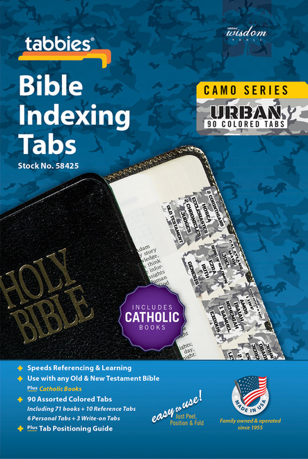 Tabbies 10 Packs of  Camo Series Bible Indexing Tabs  - urban camo - Old & New Testament plus Catholic books,  90 assorted tabs including 73 books & 10 reference tabs,  6 personal tabs & 3 write-on tabs
