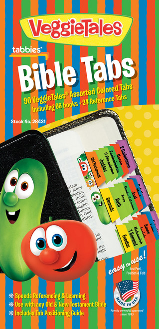 Tabbies 10 Packs of  VeggieTales Bible Indexing Tabs  - VeggieTales® Bible indexing tabs, 90 assrtd tabs incl. 66 books  & 24 reference tabs