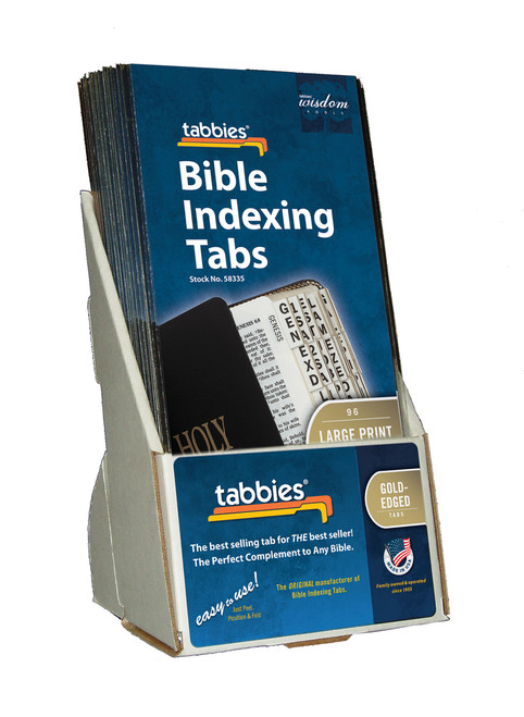 Tabbies  Displays - Bible indexing Tabs - Catholic large print display, gold, includes 20 pkgs. of 58335