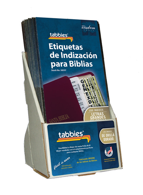 Tabbies  Displays - Bible indexing Tabs - Spanish large print display, gold, includes 20 pkgs. of 58337