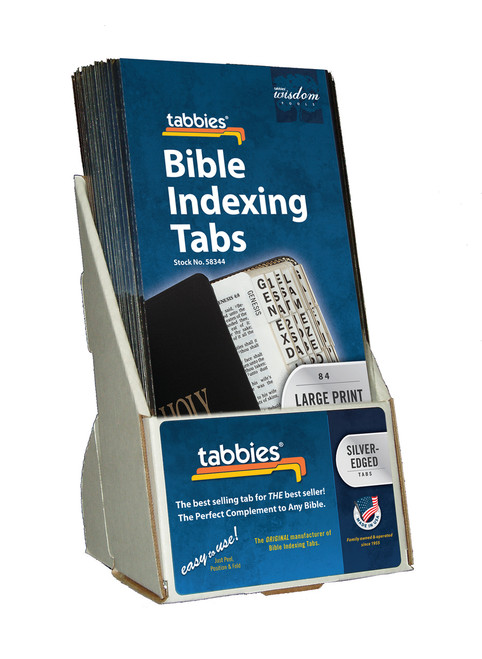 Tabbies  Displays - Bible indexing Tabs - classic large print display, silver, includes 20 pkgs. of 58344