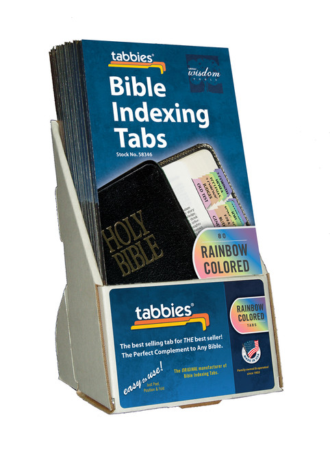 Tabbies  Displays - Bible indexing Tabs - classic rainbow display, includes 20 pkgs. of 58346