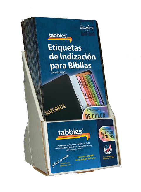 Tabbies  Displays - Bible indexing Tabs - Spanish rainbow display, includes 20 pkgs. of 58347
