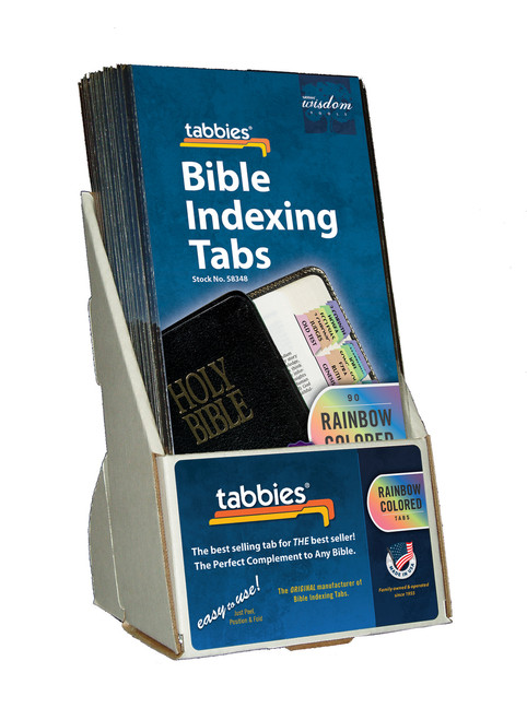 Tabbies  Displays - Bible indexing Tabs - Catholic rainbow display, includes 20 pkgs. of 58348