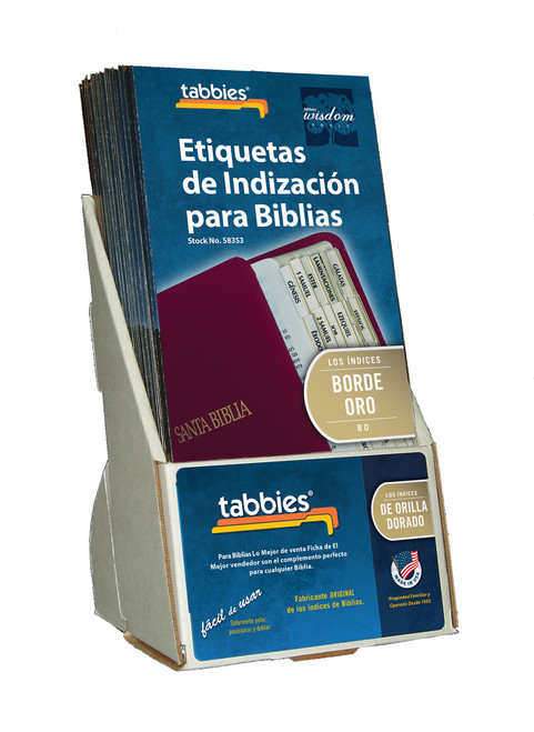 Tabbies  Displays - Bible indexing Tabs - spanish gold tab display, includes 20 pkgs. of 58353