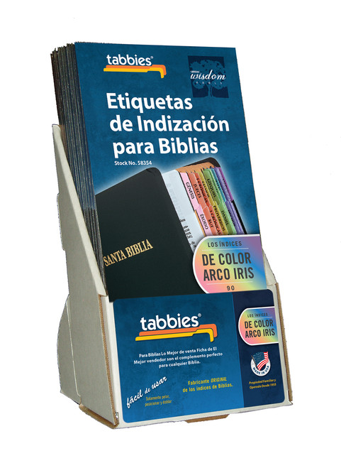 Tabbies  Displays - Bible indexing Tabs - spanish rainbow tab display, includes 20 pkgs. of 58354