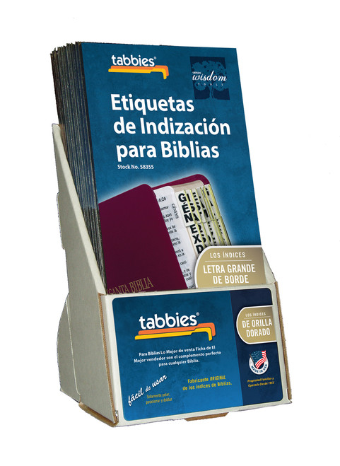 Tabbies  Displays - Bible indexing Tabs - spanish large tab display, includes 20 pkgs. of 58355