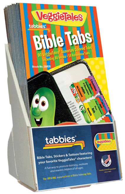 Tabbies  Displays - Bible indexing Tabs - VeggieTales® display, assorted, includes 20 pkgs. of 28431