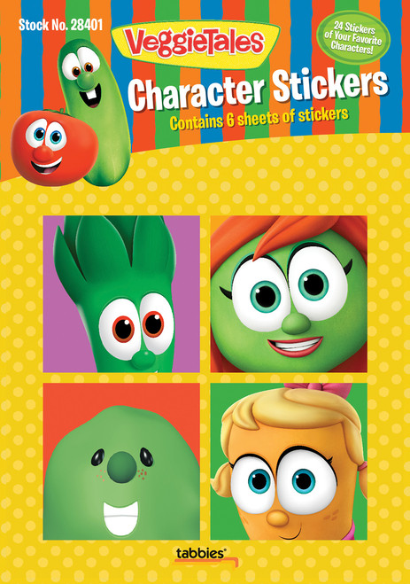 Tabbies 10 Packs of - VeggieTales® Character Stickers, 24 stickers total,  4 stickers/sheet, various characters, 6 sheets total