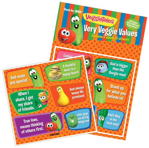 Tabbies 10 Packs of - VeggieTales® Very Veggie Values, 36 stickers total,  6 stickers/sheet, 6 sheets total