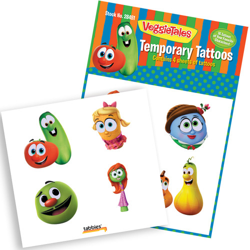 Tabbies 10 Packs of - VeggieTales® Temporary Tattoos, 16 tattoos total,  4 tattoos/sheet, various characters, 4 sheets total