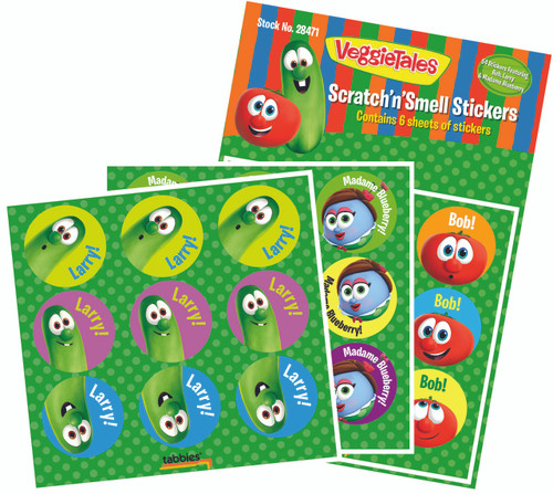 Tabbies 10 Packs of - VeggieTales® Scratch'n'Smell Stickers, 54 stickers total,  9 stickers/sheet, 3 characters 2 sheets each, 6 sheets total