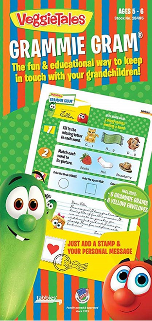 "Tabbies 5 Packs of - VeggieTales® Grammie Gram - For Ages 5 - 6 includes 6 pre-fOlded  8-1/2"" x 11"" sheets, 6 disctinctive yellow envelopes"