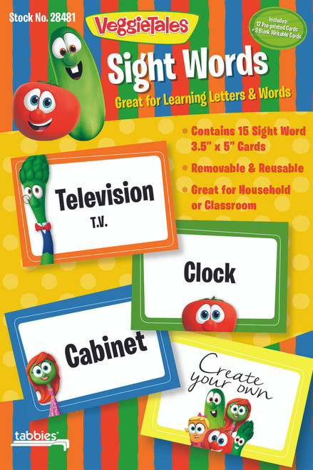 "Tabbies 5 Packs of - VeggieTales® Sight Words, 3-1/2"" x 5"" Cards, 15 cards/pack"