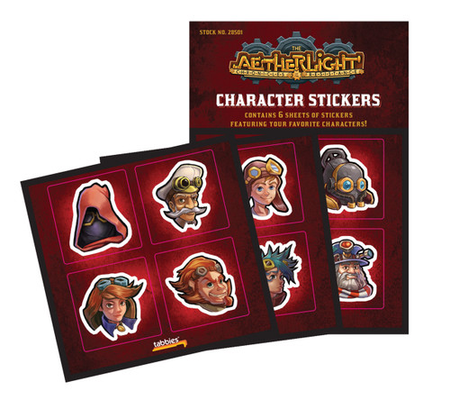 Tabbies 10 Packs of - Aetherlight® character stickers, various characters,  24 stickers total, 4 stickers/sheet, 6 sheets/pack