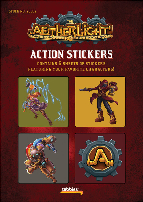 Tabbies 10 Packs of - Aetherlight® action stickers, various characters,  24 stickers total, 4 stickers/sheet, 6 sheets/pack